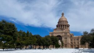 Texas Capitol in the snow